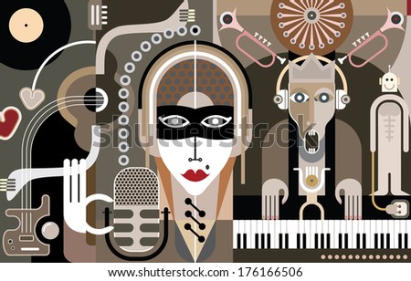Concert of Modern Music - abstract vector illustration. Beautiful girl with mike singing song. A musician plays the piano keyboard. - stock vector