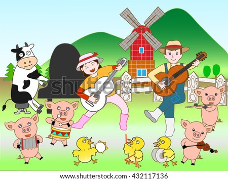Concert of the domestic animal held at a ranch - stock vector