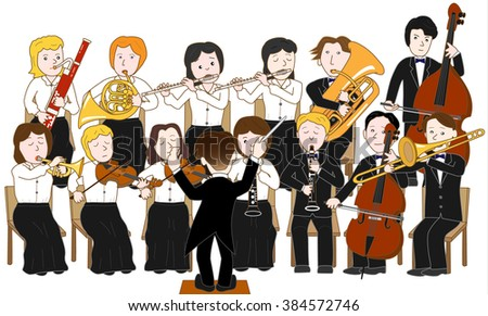 Concert of the orchestra - stock vector