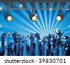 concert stage light cameras hands - stock vector