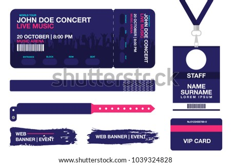 Concert Ticket Bracelets Lanyards Identification Card Stock ...