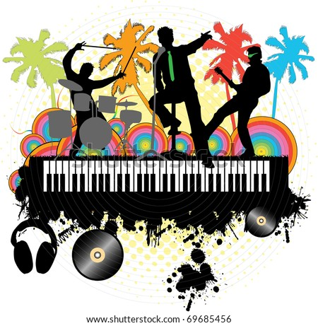 Concert under the palm-grunge background - stock vector