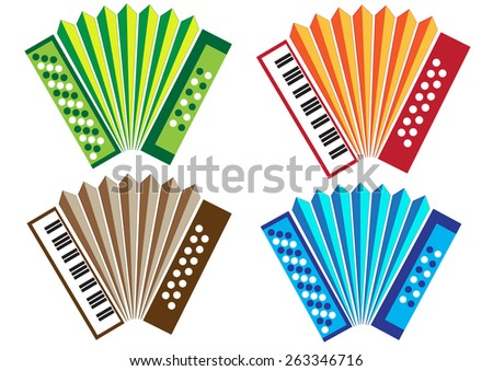 Concertina & Accordion Traditional Instruments from Portugal, Vector Illustration - stock vector
