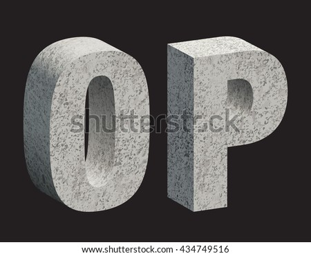 Concrete 3D letters. Vector illustration.