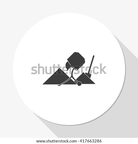 Concrete mixer and shovel icon. - stock vector