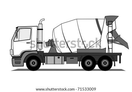 Concrete mixer truck vector - stock vector