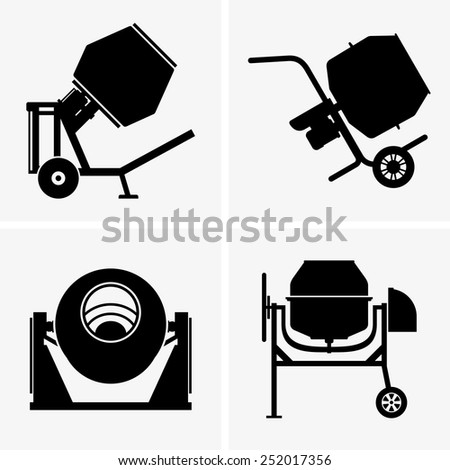 Concrete mixers - stock vector