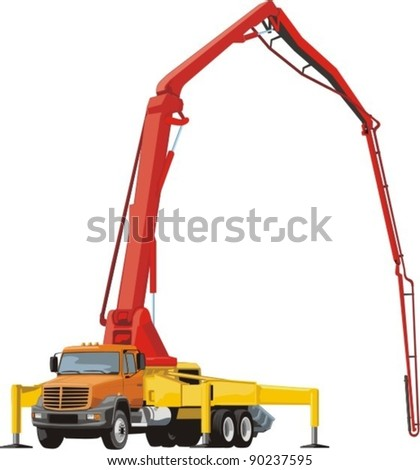 Concrete pump on the truck chassis - stock vector