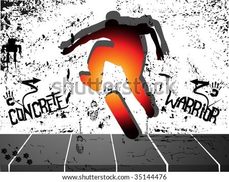 Concrete skateboard warrior - stock vector