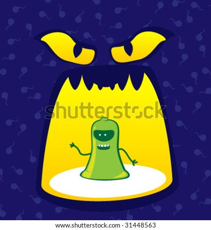 Condom and monster. For illustration of necessity protection. - stock vector