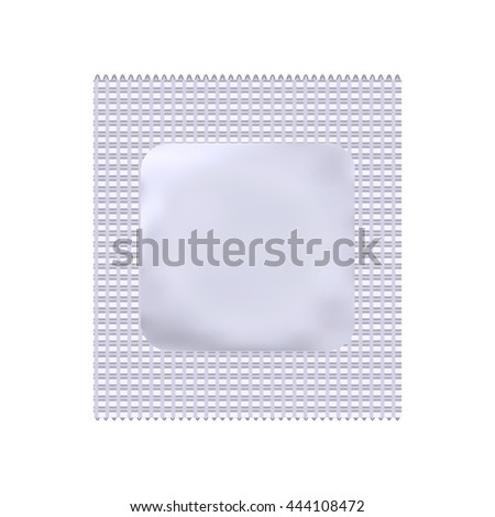 Condom package or condom wrapper isolated on white background. 3d illustration. Contraceptive method.