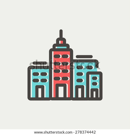 Condominium building icon thin line for web and mobile, modern minimalistic flat design. Vector icon with dark grey outline and offset colour on light grey background. - stock vector