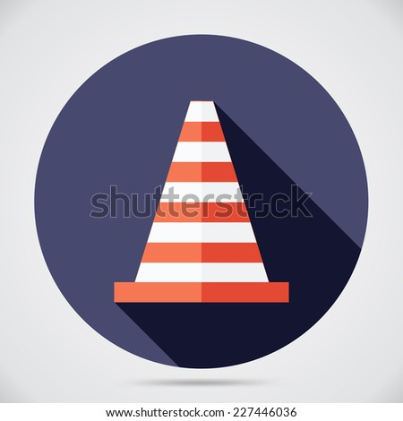 Cone flat icon with long shadows. Cone vector icon illustration. - stock vector