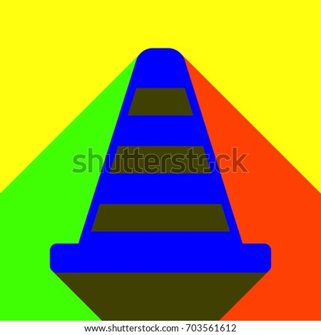 Cone Icon. Flat blue icon with red and green infinite shadows on yellow background.