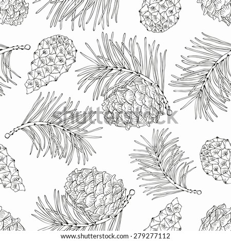 Cone seamless pattern. Vector illustration. - stock vector
