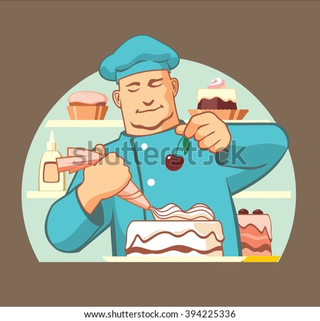 Confectioner at work, cooking a delicious cake, vector icon illustration - stock vector