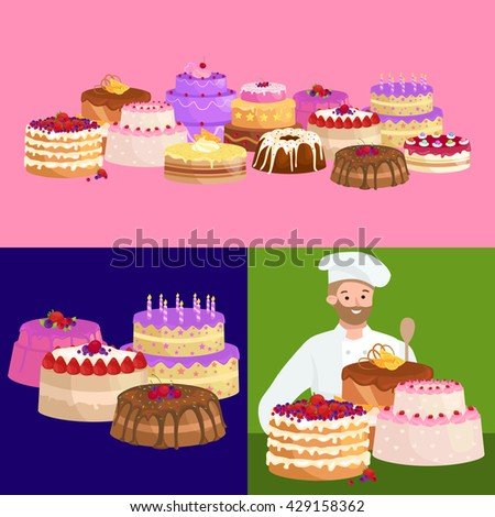 Confectioner cook chef cartoon character with cake. Vector illustrations set - stock vector