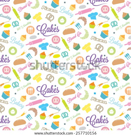 Confectionery and bakery background with elements in pastel colors - stock vector