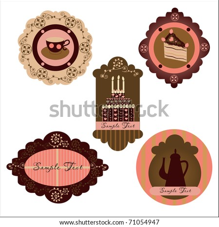 Confectionery label set - stock vector