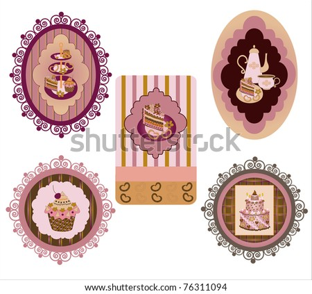 Confectionery label set 2 - stock vector