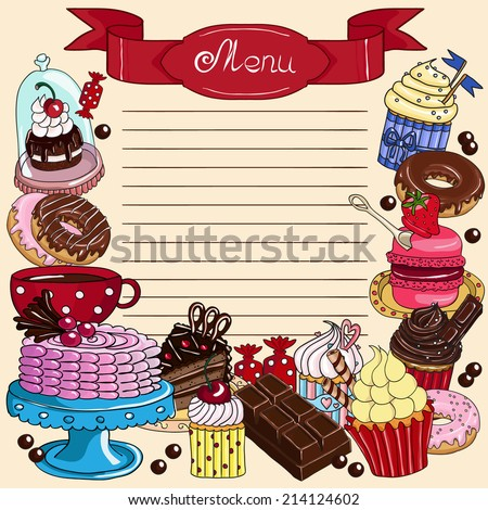 Confectionery menu. Hand drawn vector illustration. - stock vector