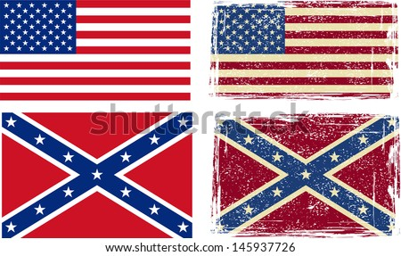 Confederate and American flags. Vector illustration - stock vector