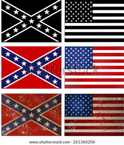 Confederate flag vs. Union flag. Civil war . - stock vector