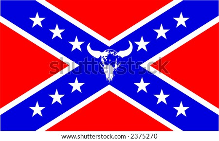 Confederate flag with buffalo skull, scalable, editable colors- vector illustration - stock vector