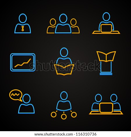 Conference and management icons set. - stock vector