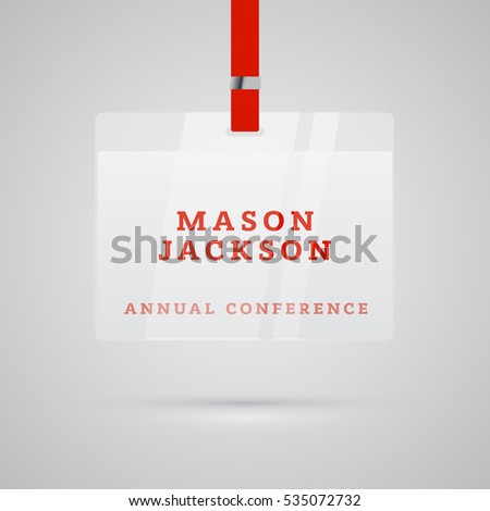 Conference badge in plastic holder with name vector illustration