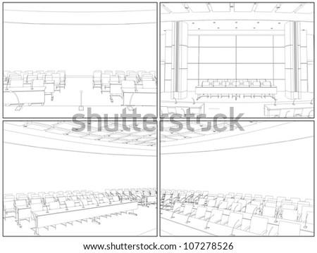 Conference Hall Interior Vector 04 - stock vector