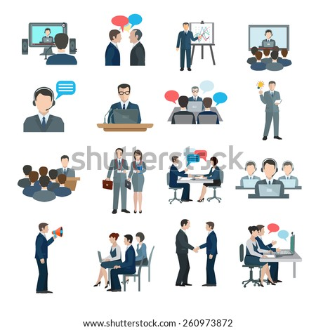 Conference icons flat set with business people workgroup communication isolated vector illustration - stock vector