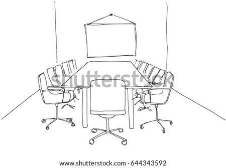 Conference Room Sketch Style Hand Drawn Stock Vector - Conference room table and chairs clip art