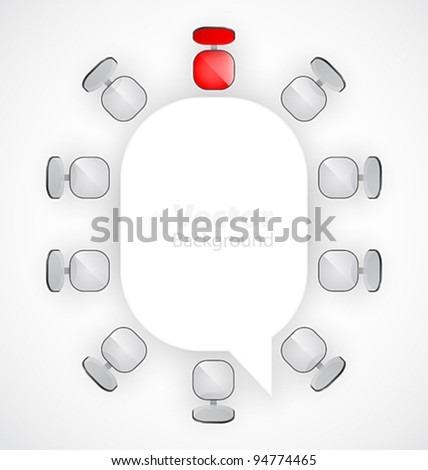 Conference table with chairs around it. - stock vector