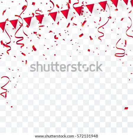 confetti red ribbons celebration background template stock vector