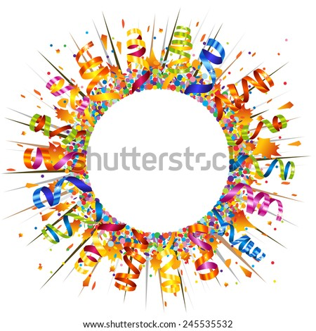 Confetti and serpentine explosion - stock vector