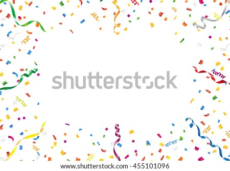 Confetti and streamer frame on white background