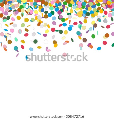 Confetti Background Template - Falling Chads Backdrop Vector Illustration with Free Space for Your Own Text
