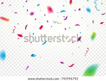 Confetti Background Vector Isolated Falling Confetti Stock Photo