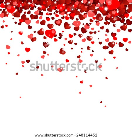 confetti falling from red hearts - stock vector