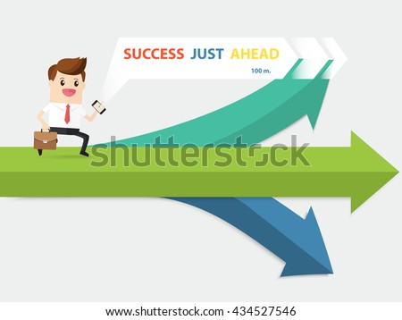 confident businessman hold briefcase running with navigator choose way to success path at crossroad - stock vector