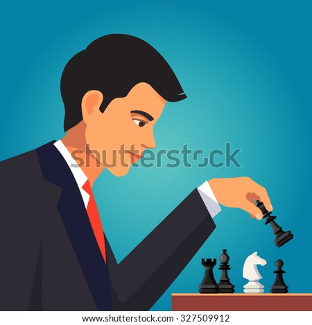 Confident businessman in business suit making a chess move with a queen playing black pieces. Flat style vector illustration isolated on blue background. - stock vector