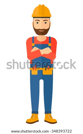 Confident hipster constructor standing with arms crossed vector flat design illustration isolated on white background. Vertical layout. - stock vector