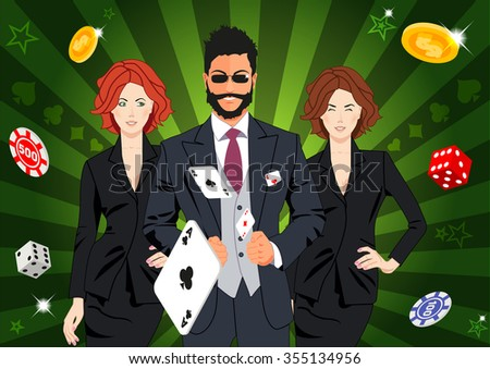 Confident lucky man surrounded by beautiful women throws aces. Design concept for gambling luck ans successful play. Use for print products, page and web decor or other design. - stock vector