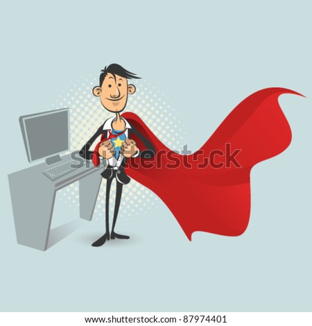 Confident Office Worker or Businessman Dressed as Superhero. - stock vector