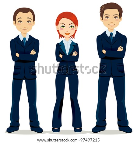Confident team of three business people partners standing with arms crossed - stock vector