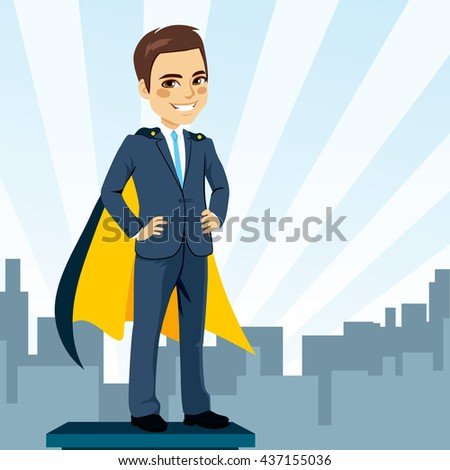 Confident young businessman hands on hips with cape hidden secret identity as super hero - stock vector