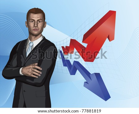Confident young businessman in front of abstract arrow graph background concept