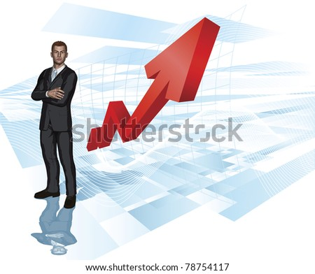 Confident young businessman in front of abstract arrow graph background concept - stock vector