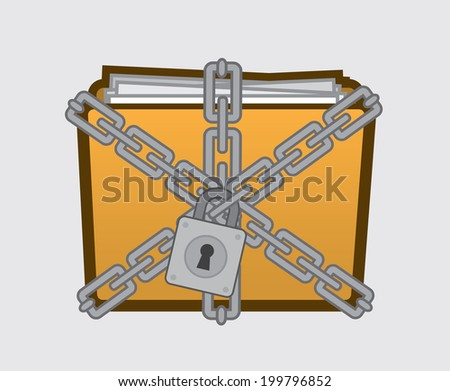 Confidential folder with files locked up.  - stock vector